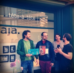 Eröffnung der neuen Tete-a-Tete-Galerie in Neu-Ulm - mit Galerist M. Peter, F. L. Arnold, Petra Schmitt, M. Leibinger - Ausstellung des Jajaverlag Berlin (bis 1. 7. 2015)   http://tat-gallery.de