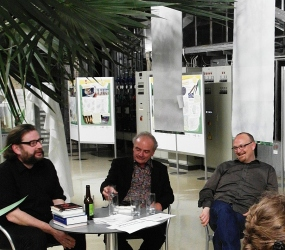 Jörg Sundermeier (Verbrecherverlag), Stefan Weidle (Weidleverlag) und Markus Hablizel zu Gast bei der Literaturwoche Ulm 2015 am 15. 6. 2015.