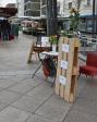 Literaturwoche - zum Beispiel unser Infostand auf dem neu-Ulmer Wochenmarkt. Foto: Schoell