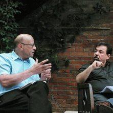 Lucien Leitess und Bachtyar Ali im Gespräch in der Steinwerkstatt Vogel in Neu-Ulm, 21. 7. 2016. Foto: F.L. Arnold
