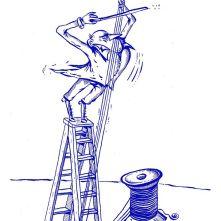 """Das Trio """"Teatrino"""" und """"Alphornsusi"""" Marei Richter präsentierten das vergnügliche Musiker-Buch """"Molto Giocoso!"""" in der Lindenhofvilla in Herrlingen am 7. August 2016. Zeichnung """"Grandioso"""" von Florian L. Arnold. Foto: M. Reutter"""