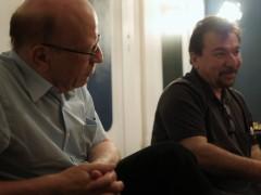 """Lucien Leitess und Bachtyar Ali im Gespräch im """"Cafe Beirut"""" in Ulm; 21. 7. 2016. Foto: K. Häckert, Ulm"""