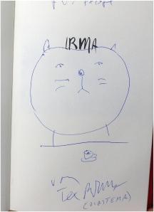 TEX RUBINOWITZ eröffnete die Literaturwoche Ulm 2015 in den Räumen der Museumsgesellschaft - nicht als übliche Lesung, sondern als veritable Performance ; logischerweise signierte der Autor und ließ jedem Buchkäufer eine persönliche Widmung mit Zeichnung zukommen. (Foto: F. L. Arnold)