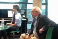 Michael Watzka und Bernd Breitenbruch stellten JOHANN MARTIN MILLER in der Stadtbibliothek Ulm vor (19. 6. 2015). Foto: Wiltschek