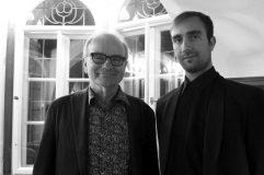 Stefan Weidle und Musiker Ivan Antonic zu Gast beim Literatursalon am 30. März 2017 in der Lindenhofvilla in Blaustein-Herrlingen. Foto: F. L. Arnold, Ulm